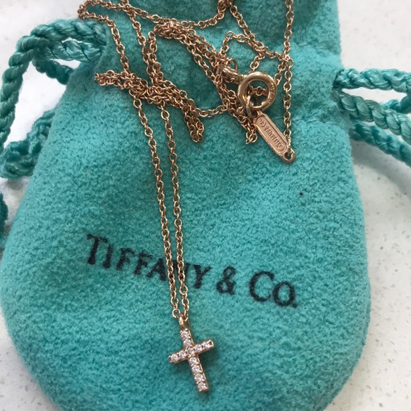 Tiffany Co Jewelry Tiffanys Mini Metro 18k Rose Gold Diamond Cross Poshmark